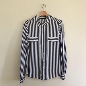 Zara || Blue White Striped Button Down Blouse